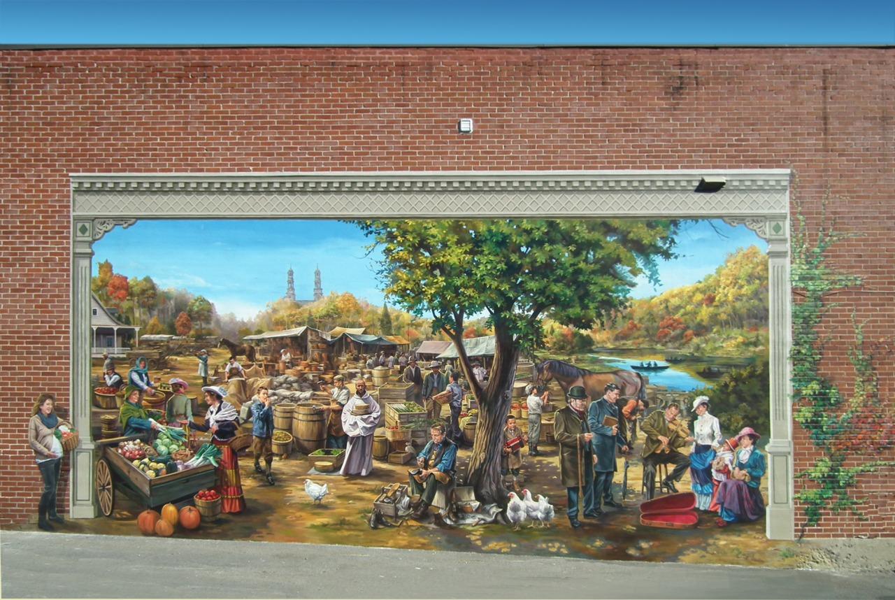 Circuit du Vieux St-Eustache:<br/> 6-La Fresque du marché public de St-Eustache, 2013